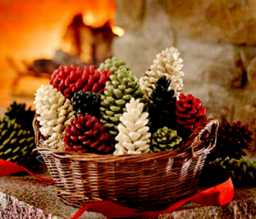 Some painted pinecones making a beautiful arrangement - see http://thefrugalhomemaker.com/2012/11/16/3-ways-to-paint-pineconeshelp-me-pick/ for more variations