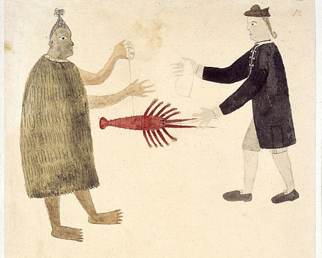 """Art from 1769, called, """"A Maori bartering a crayfish with an English naval officer."""""""