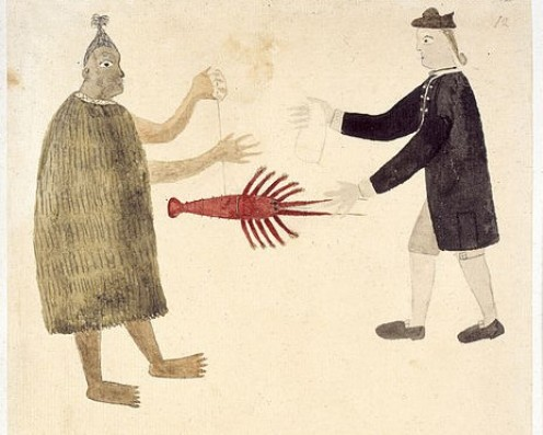 "Art from 1769, called, ""A Maori bartering a crayfish with an English naval officer."""