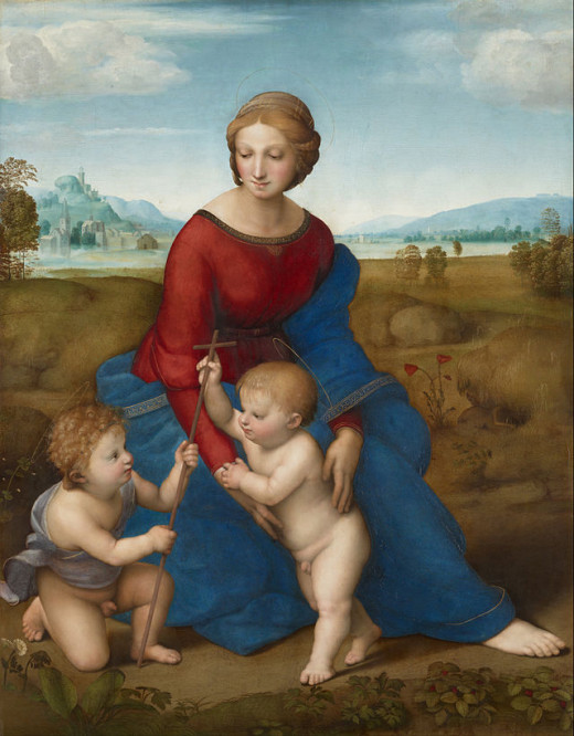 Raphael, Madonna of the Meadow (1506), Wien Kunthistorisches Museum - The painting is dated 1506 on the hem of the Virgin's dress