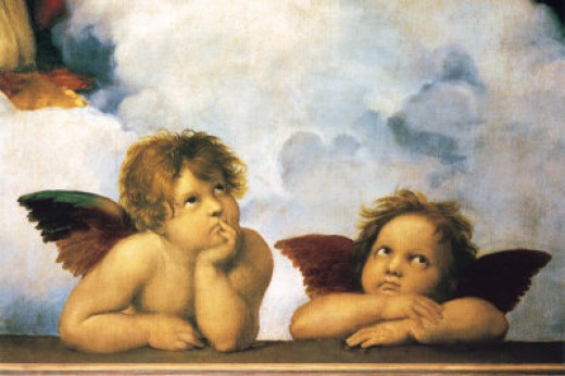 Raphael, the two popular cherubs of the Sistine Madonna