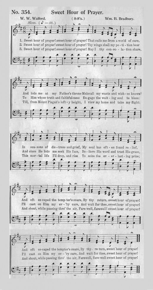 """Sweet Hour of Prayer"" from an early 20th Century hymnbook."