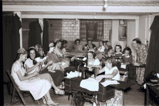 """Stitches of Cheer,"""" The Junior Sewing Circle of the North Lima Congregation, North Lima, Ohio David S. Harnley August 11, 1952 from Mennonite Church USA Archives"""