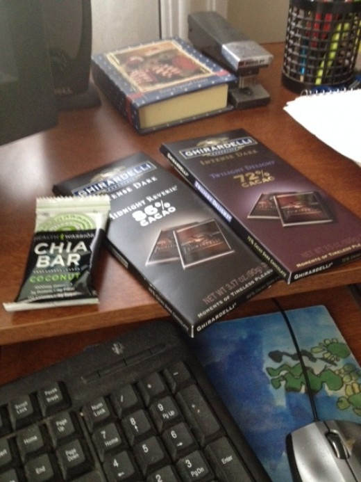 Sometimes you need chocolate and the higher the Cacao number the better - also Hero Chia bars are the best!