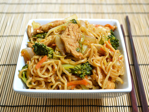 A classic and justifiably popular Japanese street-food, yakisoba is made by stir-frying boiled ramen noodles with vegeables and meat or seafood with a sweet and savory sauce.
