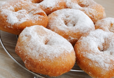 Powdered Sugar-sprinkled donuts