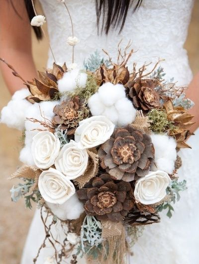 A beautiful bouquet of flowers with a rustic flair.