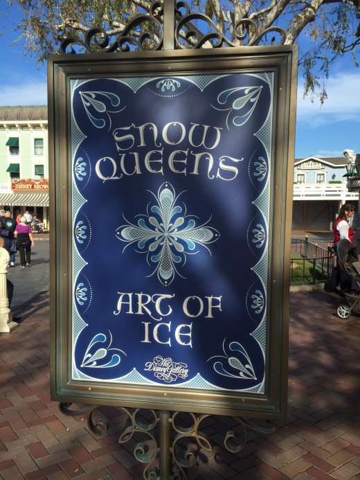 Snow Queen art exhibit sign on Main Street USA