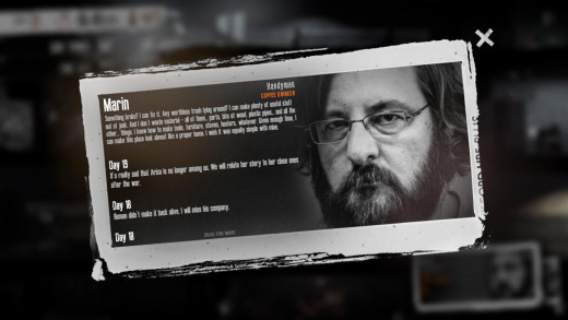 Characters reveal things about themselves as the game progresses. They also note down what's happened to them and their fellow survivors whilst you've been playing.