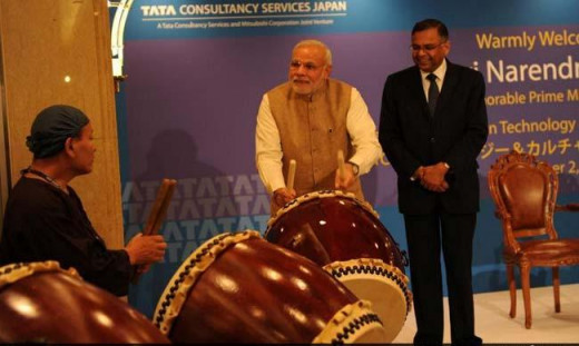 Modi also has some hidden talent in music. It was seen when he played drums in Japan with the crew of a band.