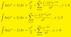 Integrals of Ln(e^x + 1) and Ln(e^x - 1)