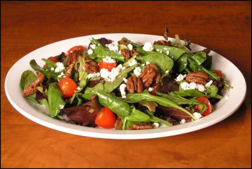 Aegean Salad Sweet baby greens, feta, cinnamon glazed pecans and honey balsamic vinaigrette, Chicken or Shrimp may be added if desired