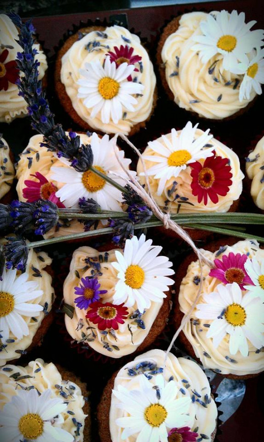 These lavender cupcakes from my anniversary picnic do have icing but could easily do without it with their lovely flower toppings. Most people didn't eat the daisies but they are food-safe.