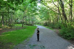 A shady quarter-or-so mile trail sits in a sweet forest of chirping birds and wildlife. Sweet salmon and blackberries grow along the trails in summer.