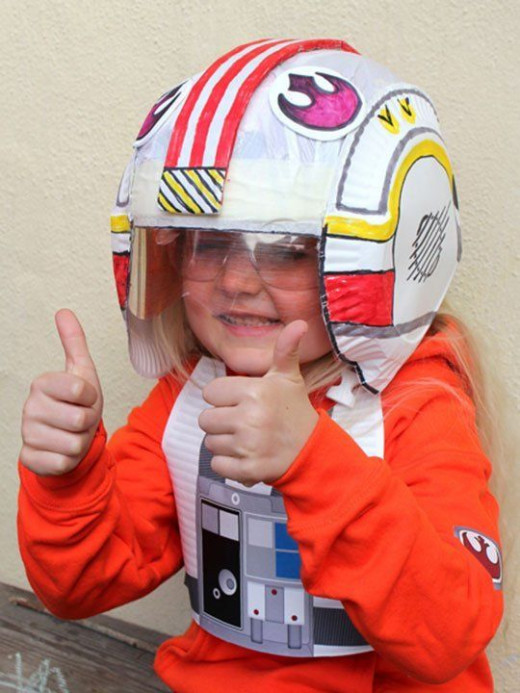 While this helmet is made for big guys, your bike helmet can be decorated with stripes and decals and matched with paper gear for tricycle action fun- add boxes and more!