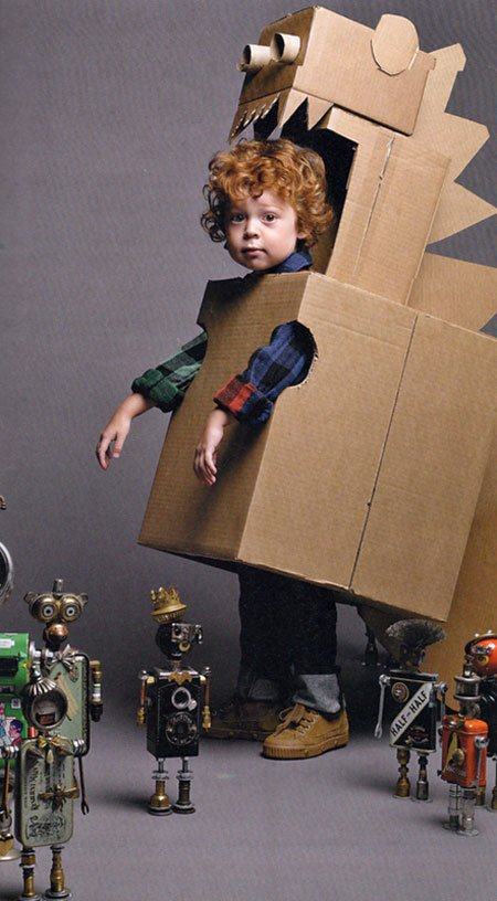 ROBOTS- Kids love them!  -Even those who don't know it yet! Collect some cardboard boxes cut out holes for arms and heads- Get glue, construction paper, scissors, pom-poms, pipe cleaners, googly eyes-any crafty do-dads that spark imagination!