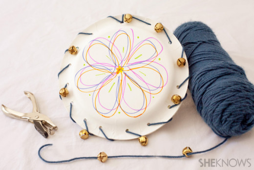 Paper Plate Tambourines - Staple or sew two sturdy  paper plates together at bases. Fill with materials that are large enough to not fall through any openings along seems. Pebbles, dried beans or nuts, beads, and similar materials are good options.