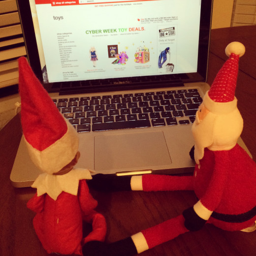 One of my favorite Elf on the Shelf moments from this year... Elvis (our elf) is shopping with Santa on Target.com