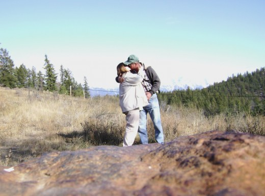 My husband and I on a hike. He hiked and I plodded along in tow behind him.