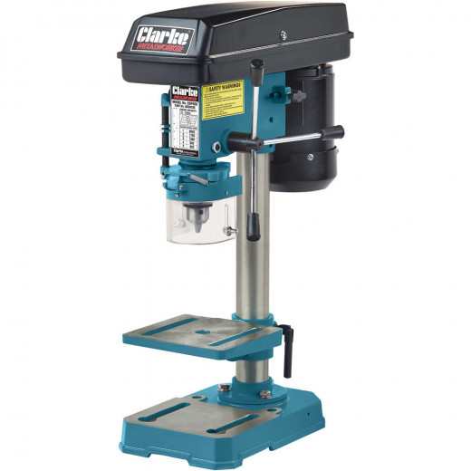 A bench drill is the ideal tool for drilling holes perpendicular to the job you need to do. You can drill wood, plastic, metal, and on some models can tilt the table to drill angles holes.