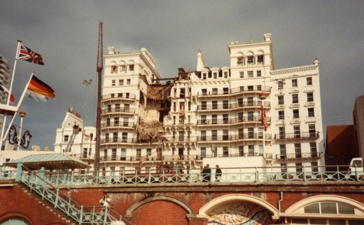 The Grand Hotel in Brighton following the IRA bomb attack