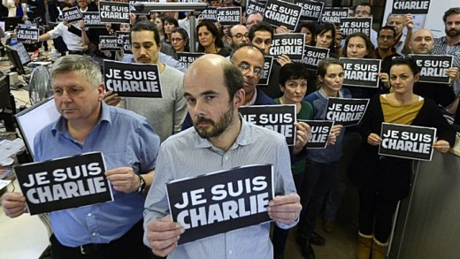 People is in solidarity with the French satirical weekly newspaper Charlie Hebdo after the terrorist attack.