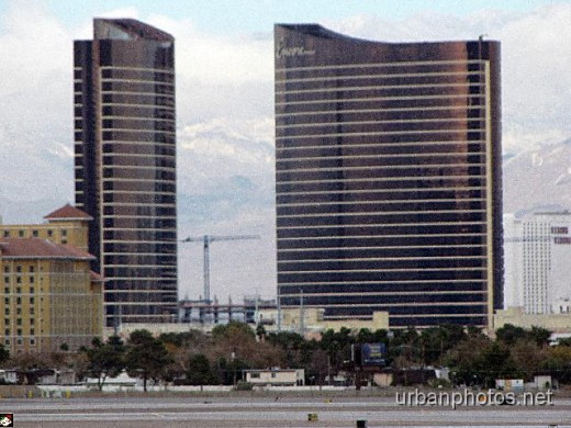 Wynn (left) and Encore at Wynn (right), as seen from McCarran Airport a few days before Encore opened in December 2008