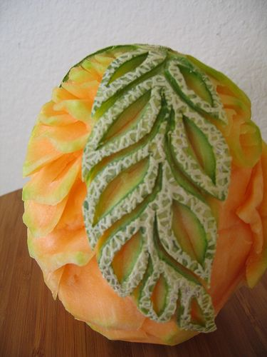 Cantaloupe Carving Of A Leaf Pattern Design