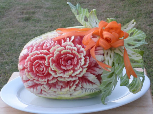 Watermelon Flower Carving with Cabbage Leaf and Carrot Ribbon/Bow