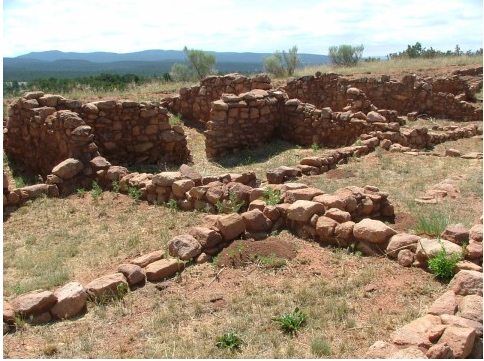 Stones follow the original layout of the rooms of the original Pecos Pueblo at Pecos National Historical Park near Santa Fe, New Mexico.