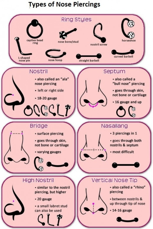 In this you can find out different types of nose piercing and ring styles