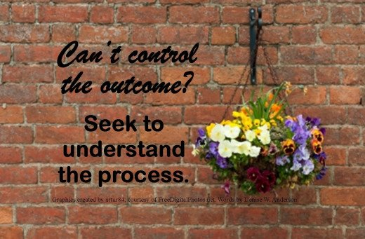 When we stop trying to control the outcome we increase our chances of success by seeking to understanding the process.