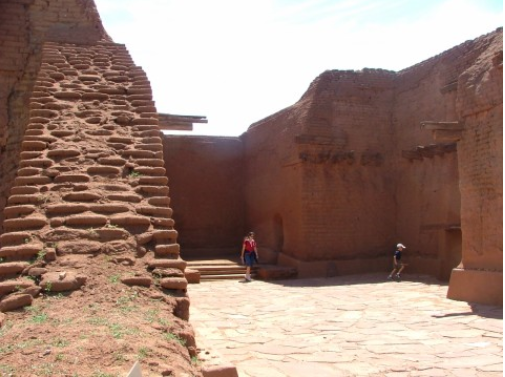 Visitors to Pecos National Historical Park give you a perspective of the size of the third edition of Mission Nuestra Senora de los Angeles built in 1693 by Spanish friars to convert the Pueblo Indians to Christianity.