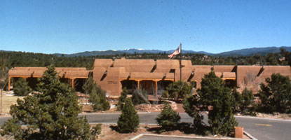 This is the E.E. Fogelson Visitor Center at Pecos National Historical Park near Santa Fe, New Mexico. This is the gateway to the ruins of a Spanish Mission,  Indian Kiva and a Civil War Battleground, and home of the actress Greer Garson.