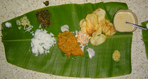 Healthy meals in banana leaf