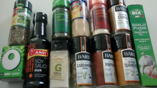 Author's photo: spices and herbs, storecupboard items.