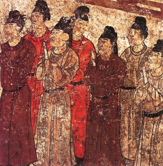 A group of eunuchs. Mural from the tomb of the prince Zhanghuai, 706 AD.