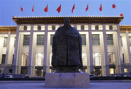 A Confucius statue stands outside the National Museum of China in Beijing