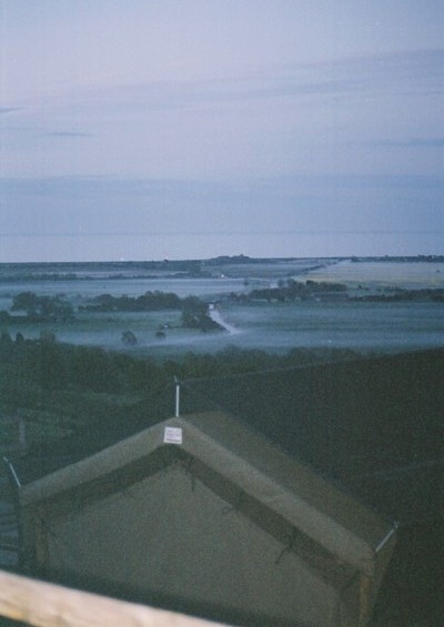 The lodge early morning, looking out at the marsh and the English Channel.
