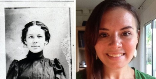 A side-by-side photo comparison of me and one of my great great grandmothers. Did we once live as our own ancestors?