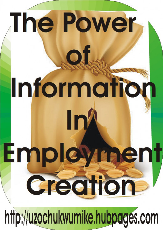 Information as a key to employment generation and solving unemployment challenge. The bag is filled with money and burst.