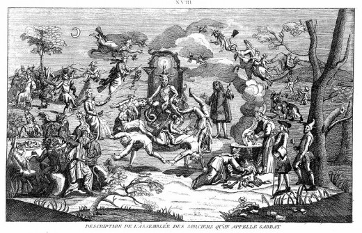 "Notice the ""Horned Lord"" or the Devil sitting on his throne in the middle of a Witches' Sabbath."