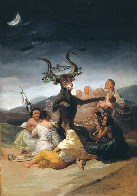 A painting from the 1700s of the Witches' Sabbath...their Horned Lord sits in the Center.