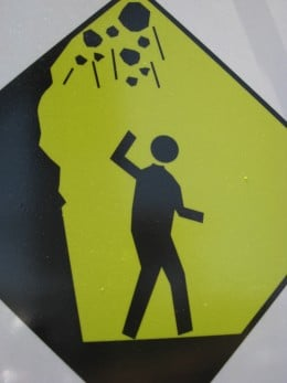 Caution: falling rocks!