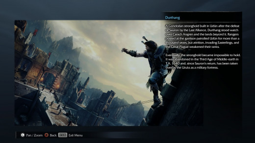 A scene from the game's archive menu