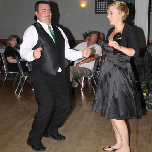 Couple dancing at a local event.