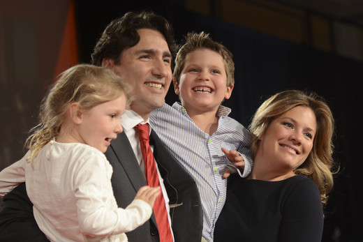 Justin Trudeau, hoping to fill Pierre Trudeau's shoes by becoming a Canadian Prime Minister like his father.  He is with his wife Sophie Grégoire-Trudeau  and kids in this photo.