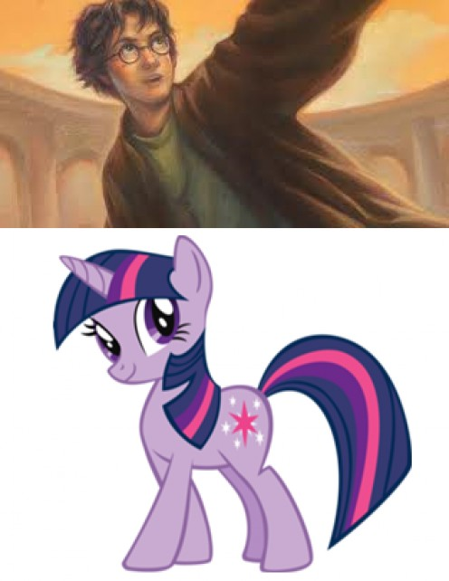 "Evan feels a deep connection with Harry Potter and Twilight Sparkle from the ""My Little Pony"" television series. Photos found on Wikipedia."