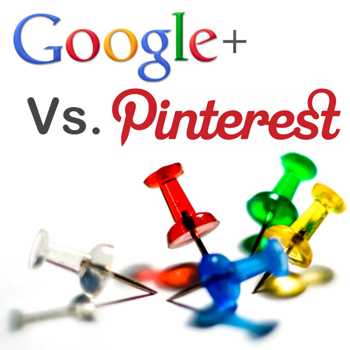 Google Plus Verses Pinterest colorful poster