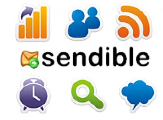 Sendible Social Media diagram with various services from mail to RSS to metrics